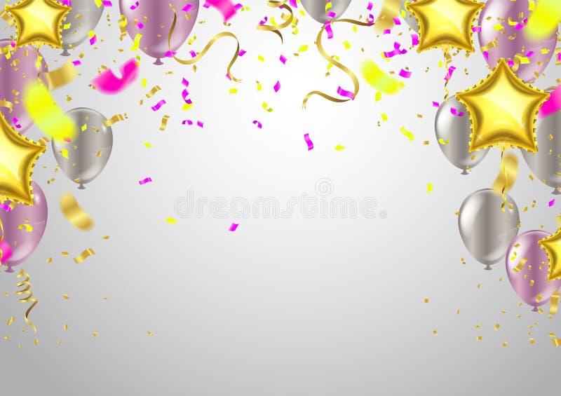Vier banner Partijvlaggen met confettien Het vectormalplaatje van het illustratieontwerp Gelukkige Glanzende vakantie van het Val stock illustratie
