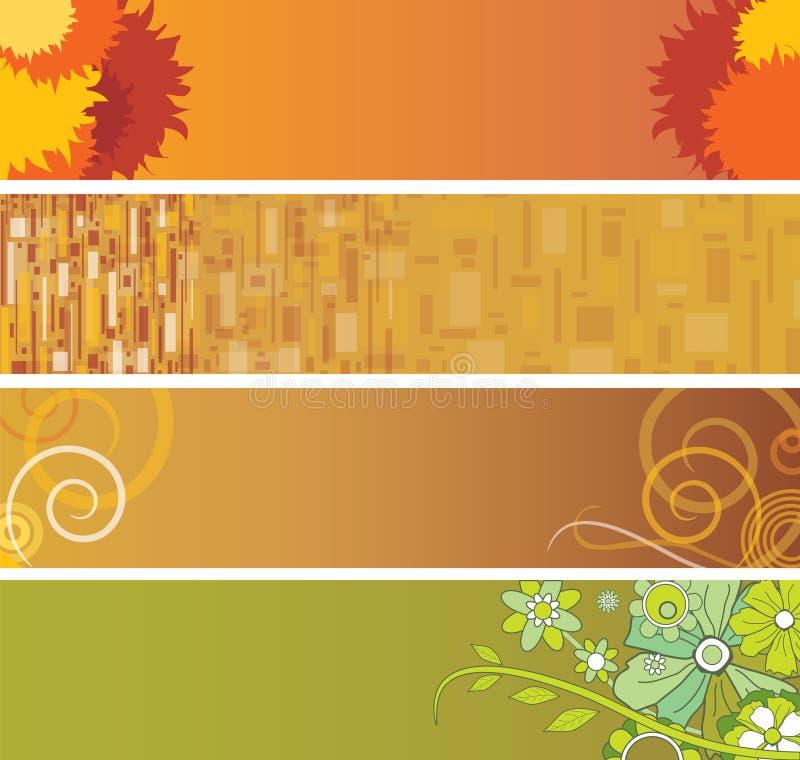 Vier bannerachtergronden stock illustratie