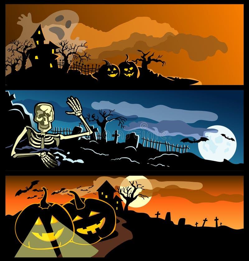 Vier banners door een vakantie Halloween vector illustratie