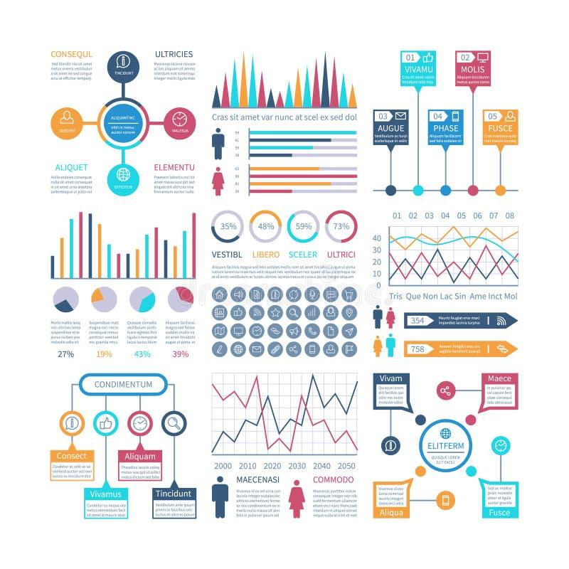 Vier banners geplaatst vectormalplaatjes Financiële grafieken, tendensengrafiek Bevolking infocharts Statistisch staafdiagram pre royalty-vrije illustratie