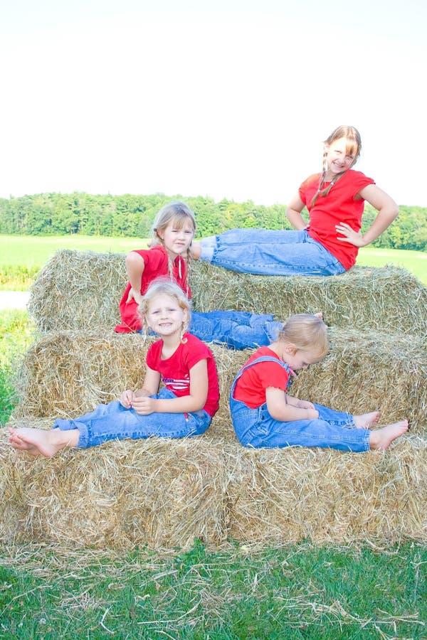 Vier Bauernhofschwestern mit Fluglage. lizenzfreies stockbild