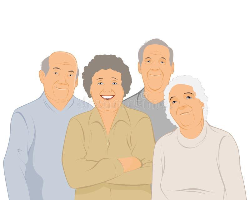 Vier bejaarde mensen stock illustratie