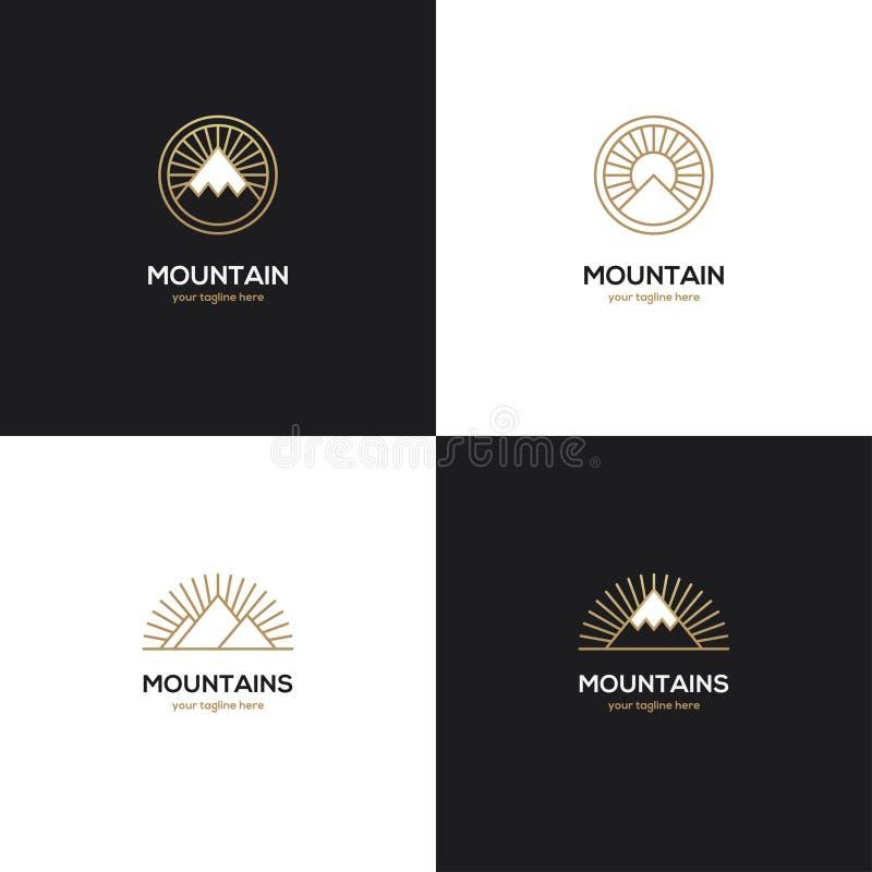 Vier bergembleem in gouden kleur royalty-vrije illustratie