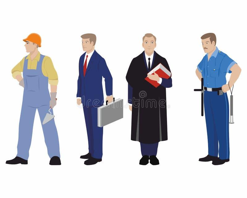 Vier beroepsmensen stock illustratie