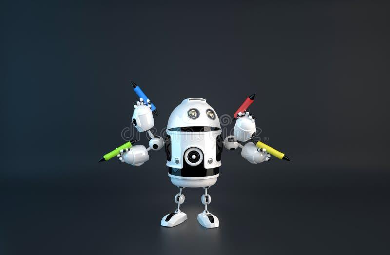 Vier-bewapende robot met potloden E Bevat het knippen weg vector illustratie