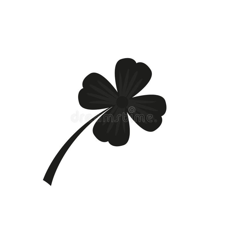 Vier Blatt-Kleeikone Schwarze Ikone lokalisiert auf wei?em Hintergrund Kleeschattenbild Einfache Ikone Websiteseite und -mobile stock abbildung