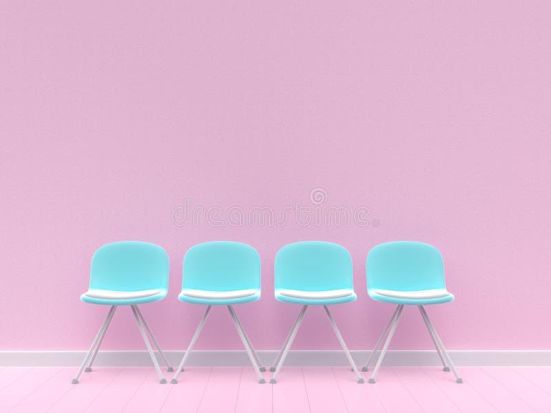 Vier blaue Stühle auf Betonmauer stock abbildung
