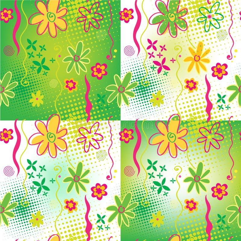 Vier bloemen naadloze achtergronden stock illustratie