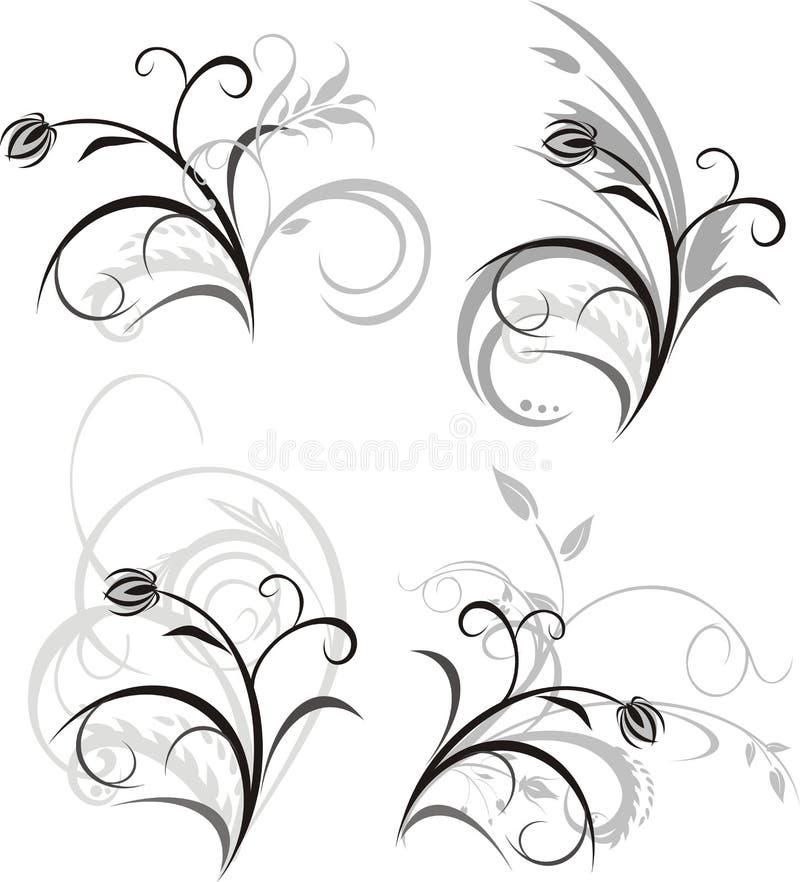 Vier bloemenornamenten vector illustratie
