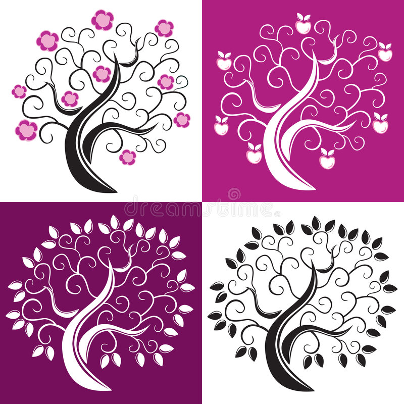 Vier bomen. royalty-vrije illustratie
