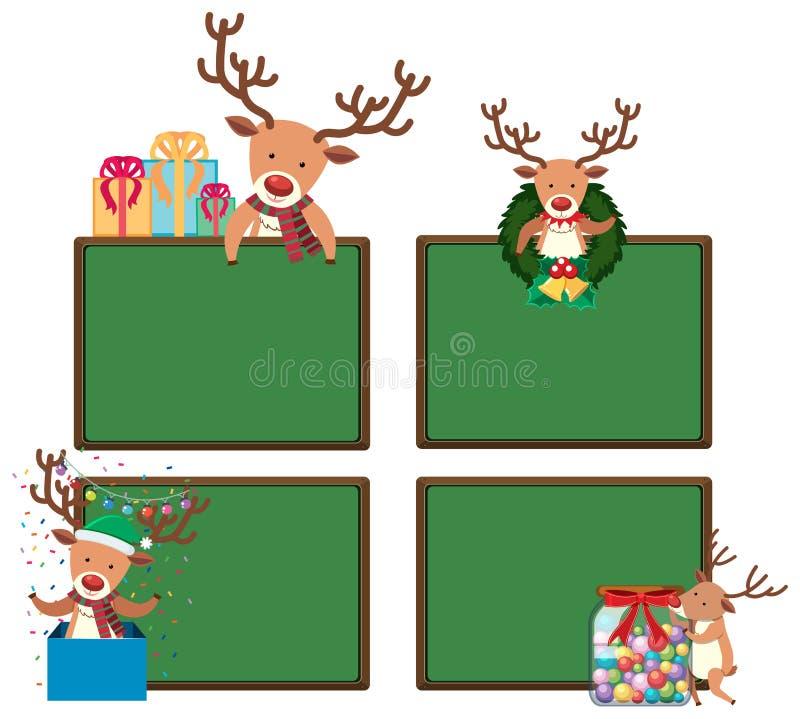 Vier borden met Kerstmisrendieren stock illustratie