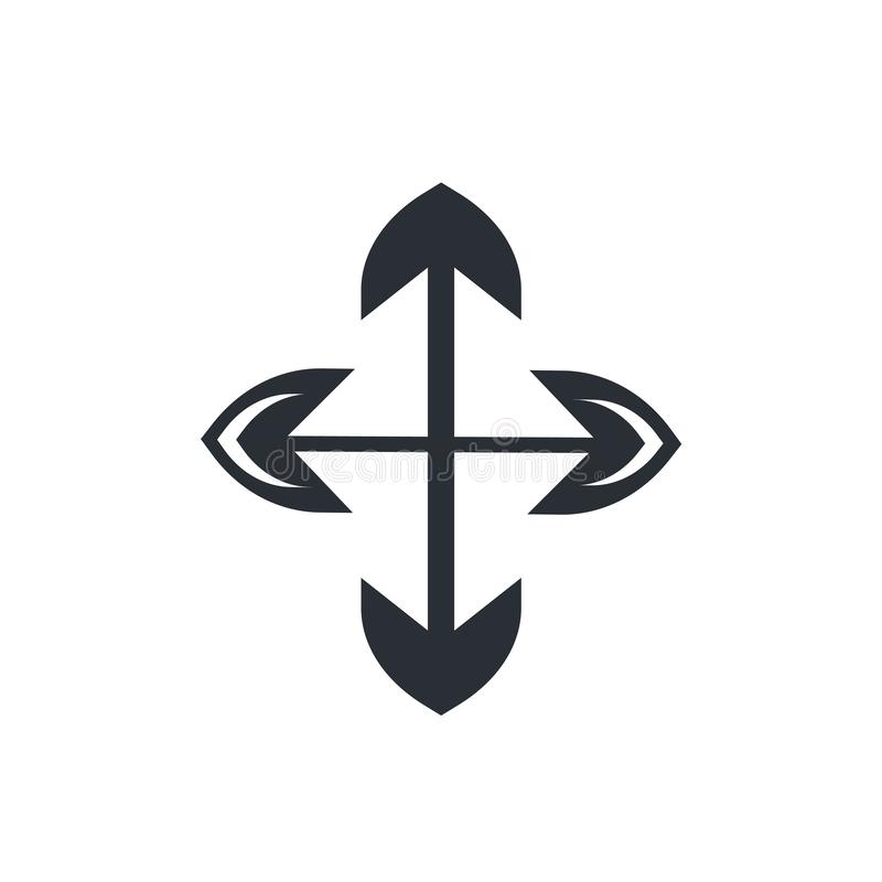 Vier breiden het vectordieteken van het Pijlenpictogram uit en het symbool op witte achtergrond, Vier wordt geïsoleerd breidt het royalty-vrije illustratie