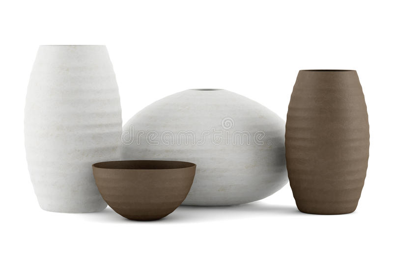 Vier bruine en witte ceramische die vazen op wit worden geïsoleerd royalty-vrije illustratie