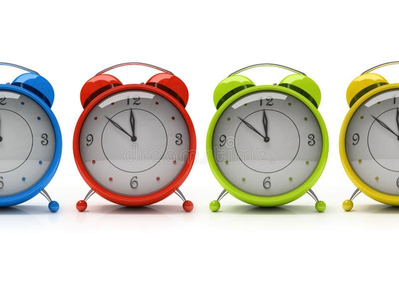 Vier bunte Alarmuhren getrennt auf weißem Hintergrund 3D lizenzfreie abbildung