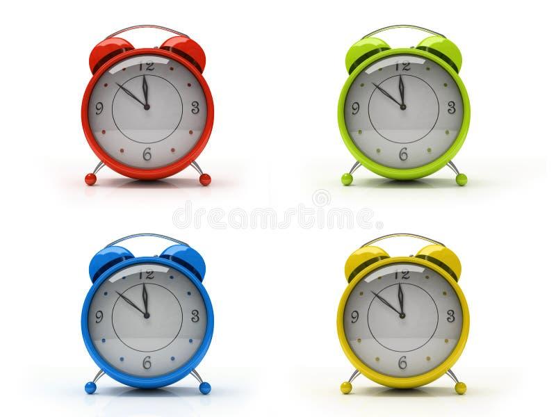 Vier bunte Alarmuhren getrennt auf weißem Hintergrund 3D lizenzfreies stockfoto