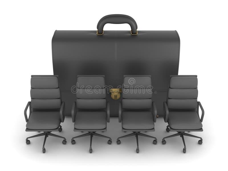 Vier bureaustoelen en leeraktentas royalty-vrije illustratie