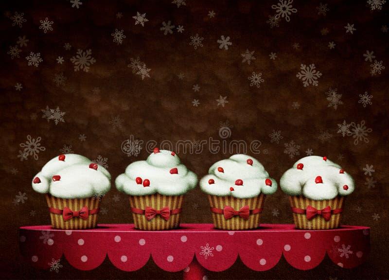 Vier cakes stock illustratie