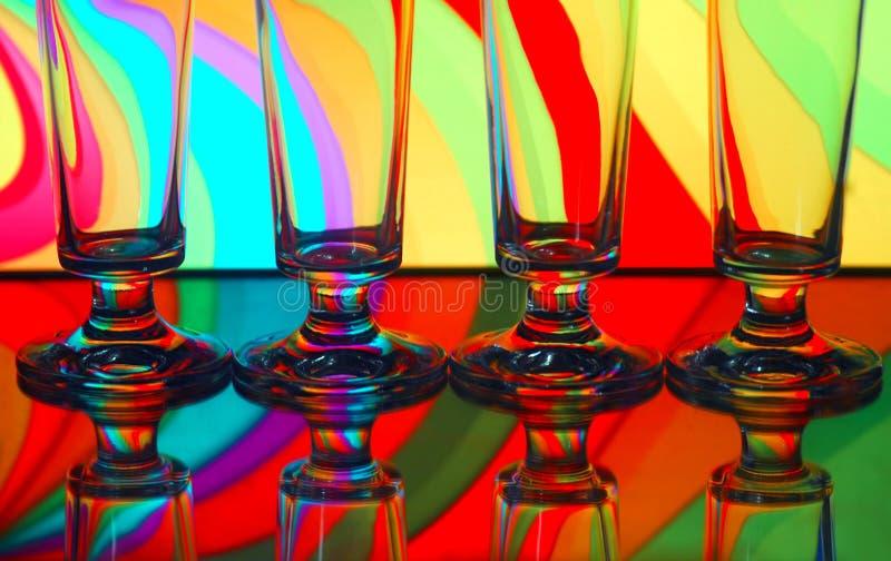 Vier Champagnergläser stockfotografie