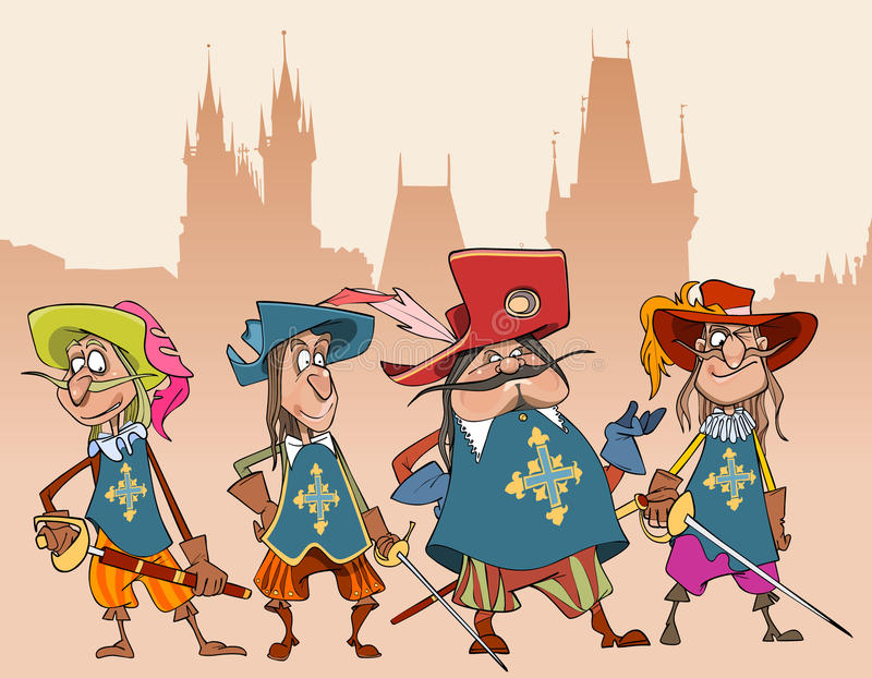 Vier Charakter-Soldaten Musketiere der Karikatur lustige lizenzfreie abbildung