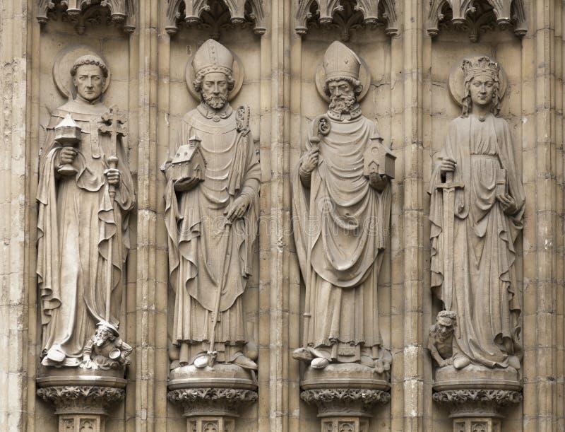 Vier christelijke standbeelden in Antwerpen, België royalty-vrije stock fotografie