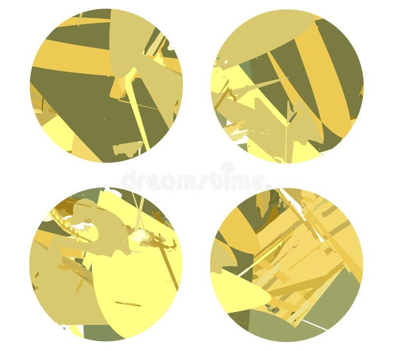 Vier cirkels op een lichte achtergrond met abstracte lijnen stock foto