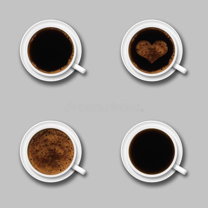 Vier coffekop op grijs stock fotografie