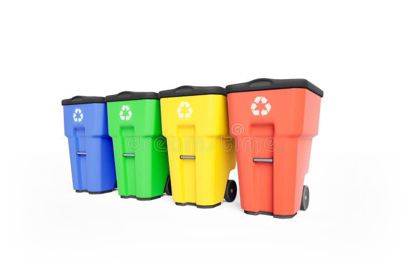 Vier colorfull Plastikmülltonnen mit der Wiederverwertung des Logos, angebunden auf Reihe stock abbildung