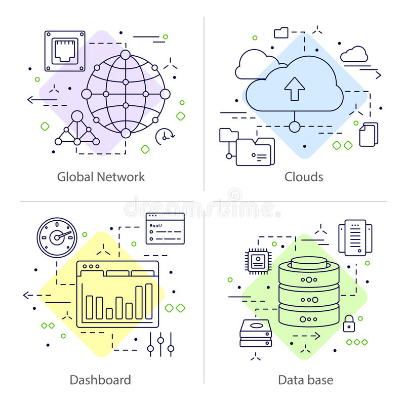 Vier Datacenter-Pictogramreeks vector illustratie