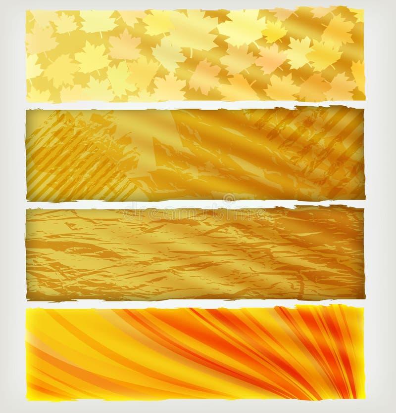Vier de herfstbanners stock illustratie