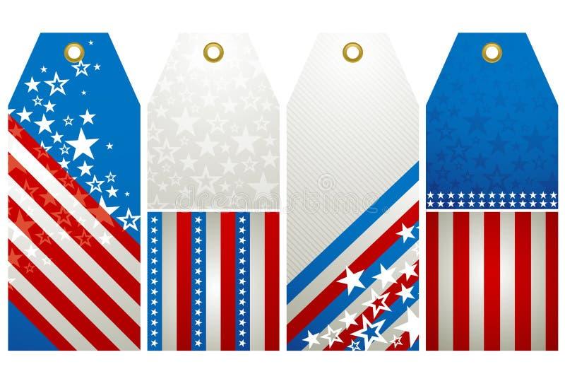 Vier de V.S.etiketten stock illustratie
