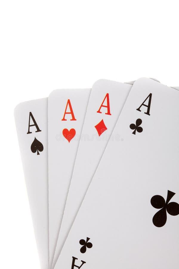 Vier die Azen, speelkaarten, op wit worden geïsoleerd royalty-vrije stock afbeelding