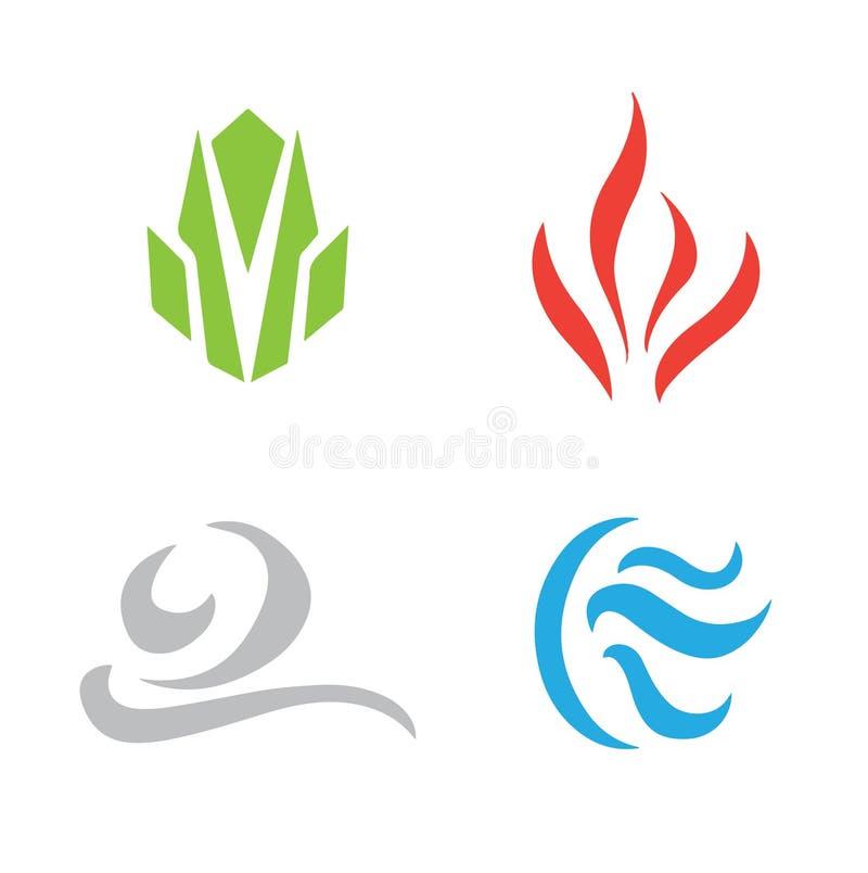 Vier die elementenpictogram op witte achtergrond wordt geplaatst stock afbeelding