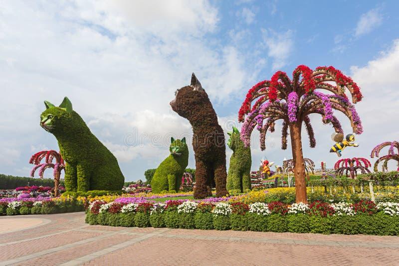 4 vier die katten van Bloemen worden gemaakt die toeristen welkom heten bij ingang bij Mirakeltuin in Doubai stock foto's