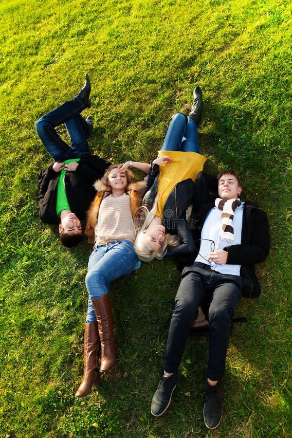 Vier die op het gras leggen stock afbeeldingen