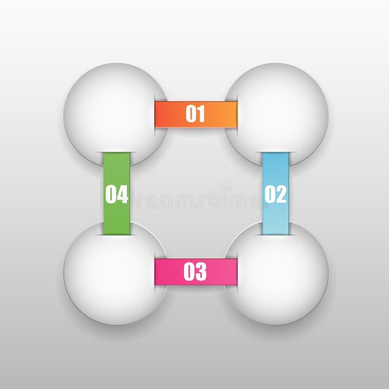 Vier die overlappingen met de gegevens aan linten worden verbonden vector illustratie