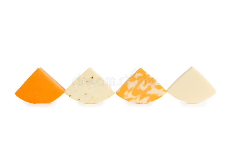 Vier Differenct-Stücke Käse lizenzfreie stockfotografie