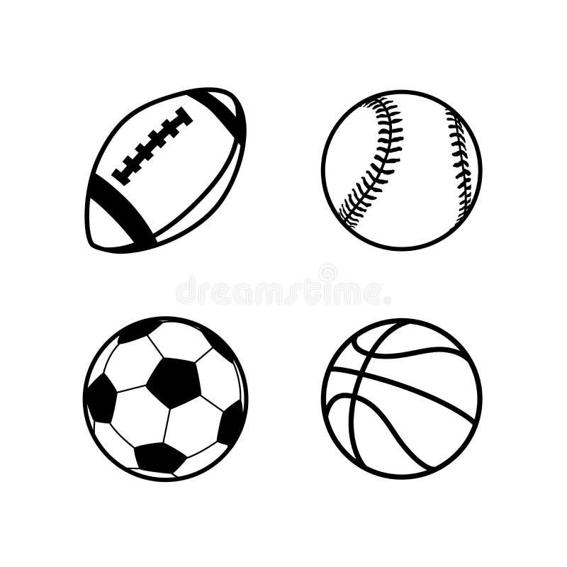 Vier eenvoudige zwarte die pictogrammen van ballen voor rugby, voetbal, basketbal en honkbalsportspelen, op wit worden geïsoleerd royalty-vrije illustratie
