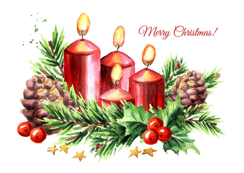 Vier Einführungsweihnachtskerzen mit Dekoration Viertes Aufkommen Gezeichnete Illustration des Aquarells Hand lokalisiert auf wei stock abbildung