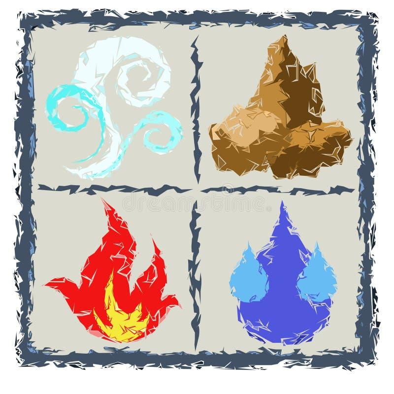 Vier Elemente der Elemente Luft, Wasser, Feuer, Erde stock abbildung