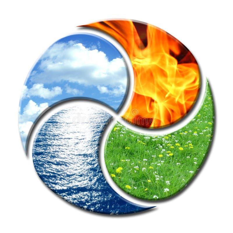 Vier Elemente formin Yin und Yang stock abbildung