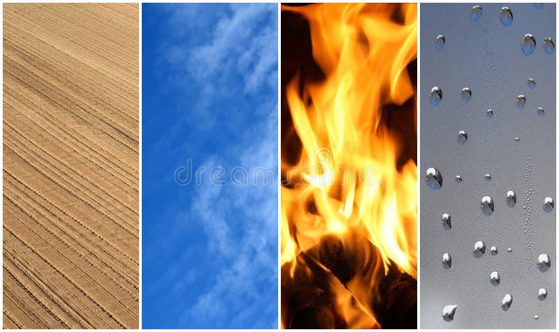 Vier elementen. Aarde, lucht, brand, water. stock foto's