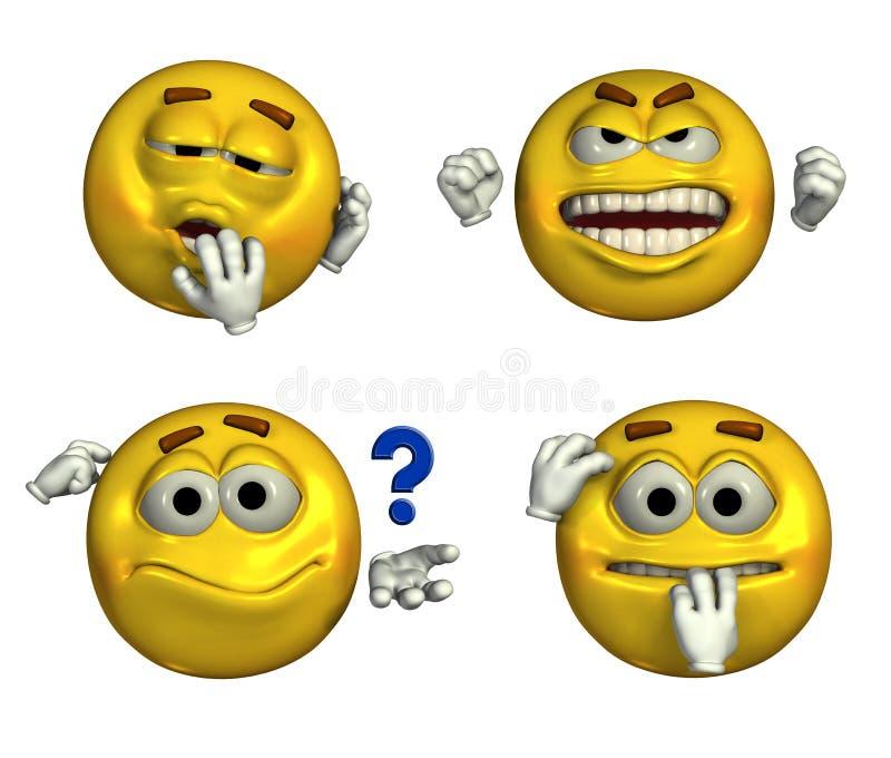 Vier Emoticons - mit Ausschnittspfad lizenzfreie abbildung