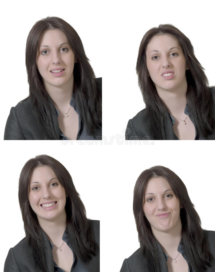 Vier emoties van jonge dame royalty-vrije stock afbeelding