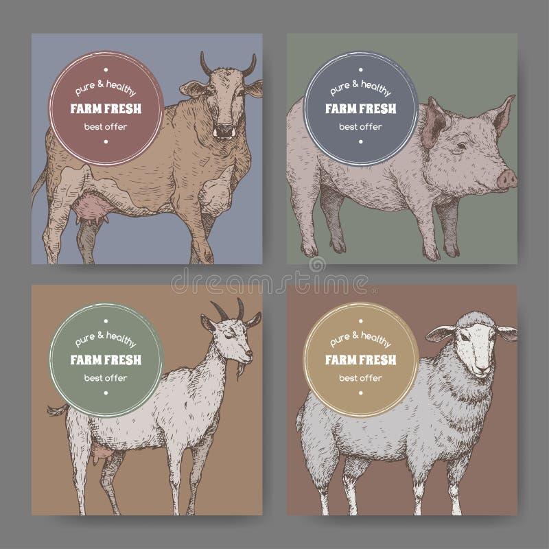 Vier etiketten met kleur overhandigen de getrokken schetsen van landbouwbedrijfdieren royalty-vrije illustratie