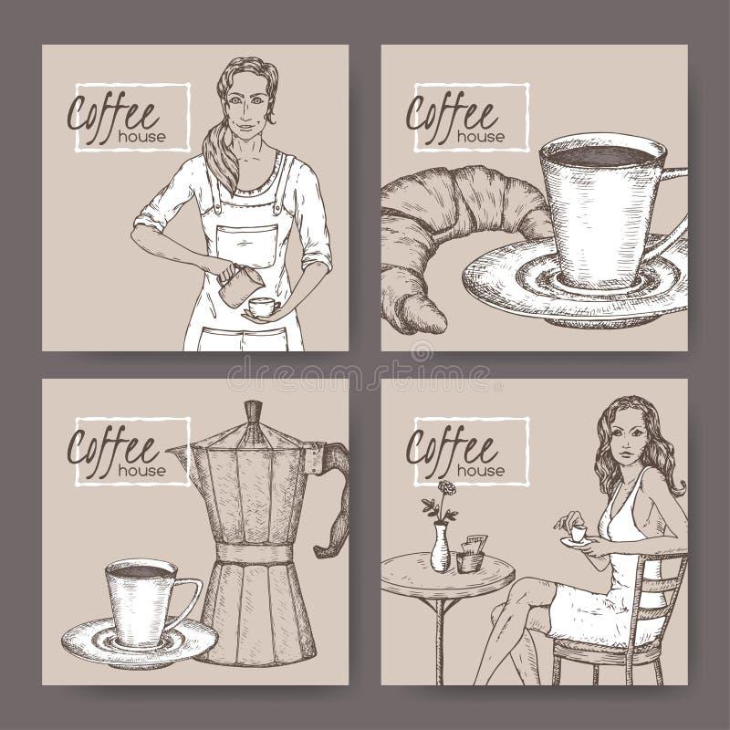 Vier etiketten van het koffiehuis met barista, koffiekop, mokapot, croissant en damecliënt stock illustratie