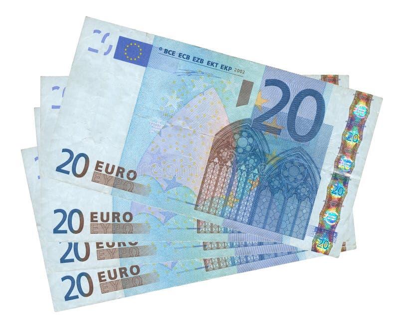 Vier euro bankbiljetten royalty-vrije stock afbeeldingen