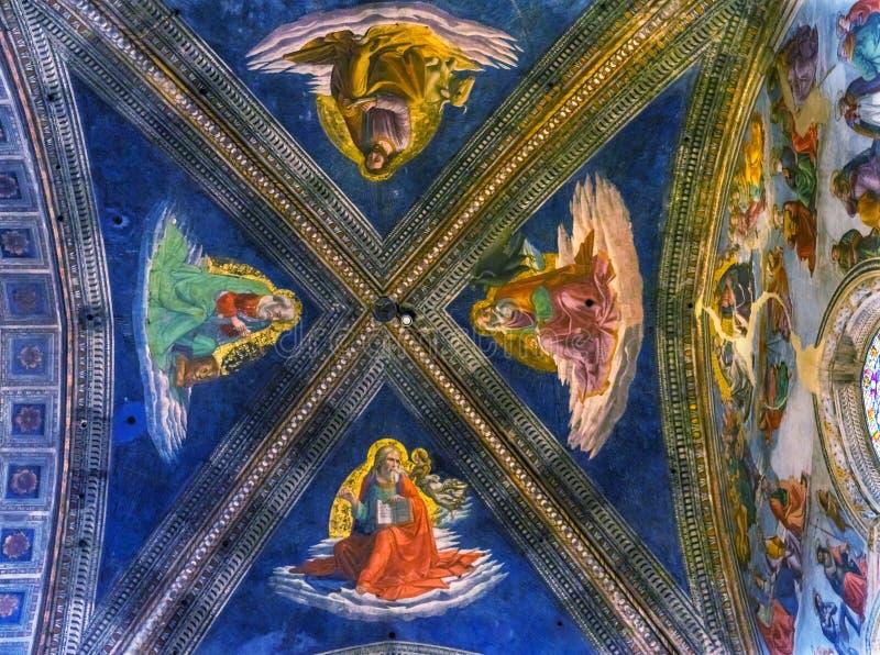 Vier Evangelium-Verfasser Ceiing Santa Maria Novella Church Florence Italy lizenzfreies stockbild