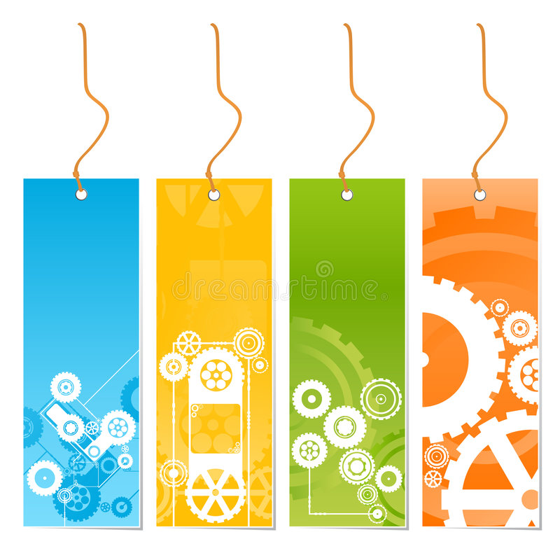 Vier färbten Marken mit Technologiethema auf einer Leine stock abbildung