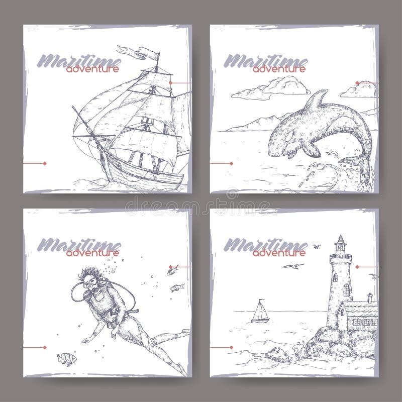 Vier Fahnen mit Großsegler-, Leuchtturm-, Sporttaucher- und Springenwalskizze See-adveture Reihe stock abbildung