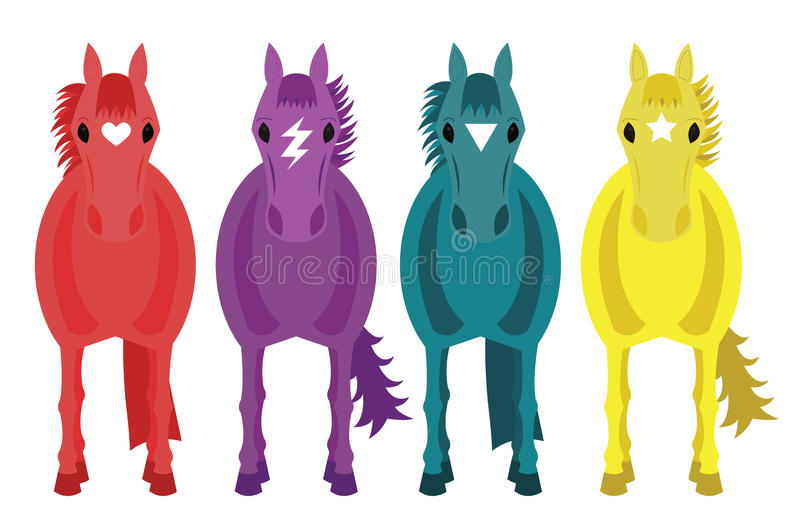 Vier Fantasiepaarden stock afbeelding